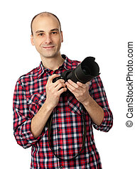 man with professional camera