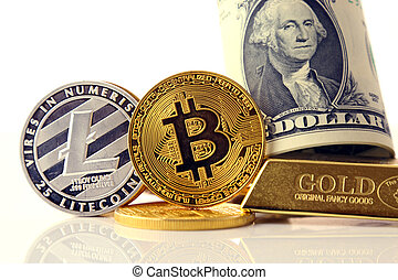Physical version of Bitcoin and Litecoin, new virtual money. Conceptual image for investors in cryptocurrency, gold and dollars.