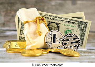 Physical version of Litecoin, new virtual money. Conceptual image for investors in cryptocurrency, gold and dollars.