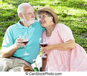 Picnic Seniors with Wine