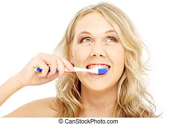 happy blond with toothbrush