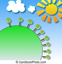picture with green earth, sun and clouds in sky
