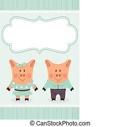 Piggies couple. Invitation card