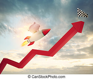 Piggy bank fly on a rocket and reaches the flag. Concept of fast increase of money.
