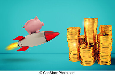Piggy bank fly on a rocket to reach the golden coins. Concept of fast increase of money.