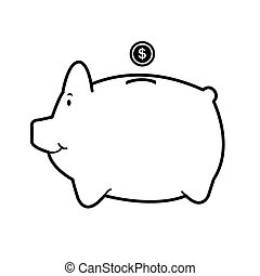 image of piggy bank vector isolate on white background