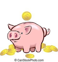 a piggy bank with a coin going into it.