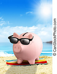 Piggy bank on the beach, money for travel concept