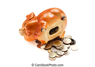Piggy bank isolated on white background.