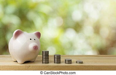 piggy bank save coins, saving money concept