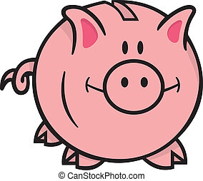 Smiling pink piggy bank cartoon illustration on white background looking front.