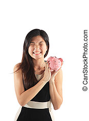 Piggy Bank with Business Woman