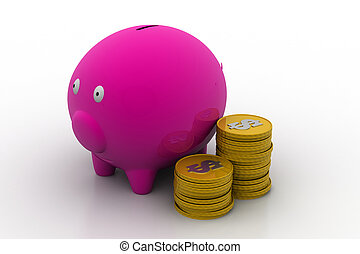 Piggy bank with dollar coins