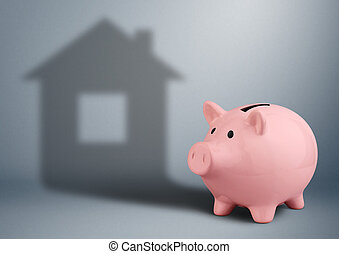 Piggy bank with shadow as house, housing industry finance concept