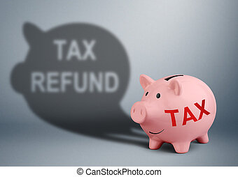 Piggy bank with shadow, tax refund concept