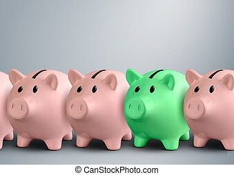 Piggy banks in a row, finance success concept