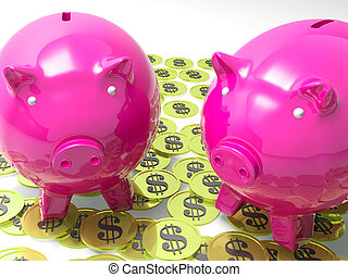 Piggybanks On Coins Shows American Earnings And Finances