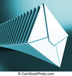 Piled Envelopes Showing Inbox Messages On Computer Internet