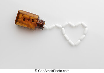 tablets coming out of bottle and forming shape of a heart