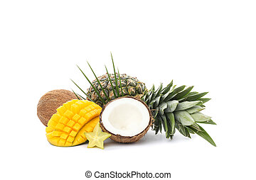 Pineapple, coconut, mango, carambola and palm branch isolated on white background