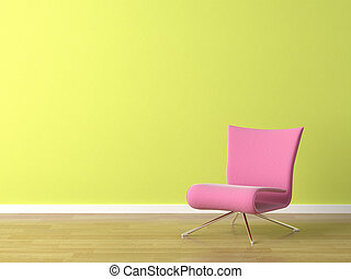 interior scene of pink modern chair on a green wall
