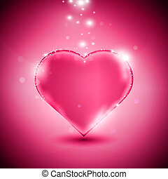 Valentines day card with glossy pink heart, eps10 vector illustration