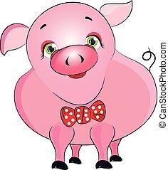 pink pig cute cartoon vector illustration