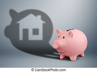 Pink piggy bank with shadow as home, savings for house finance concept