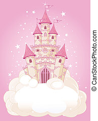 Illustration of a Fairy Tale princess pink castle in the sky