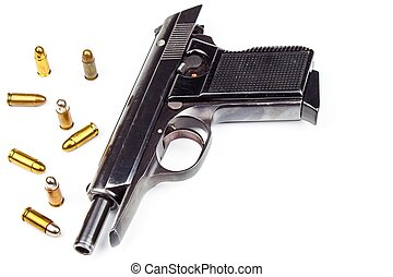 Pistols and hubs on a white background. Defense concept. Detail of the weapon. Right to bear arms.