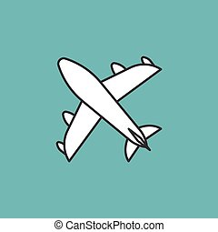 plane icon, thin line