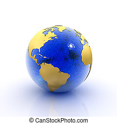 Our planet earth made of blue glass and gold foil (3D rendering)