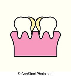 Plaque on Teeth, Cavity, tooth decay, dental related icon, filled outline