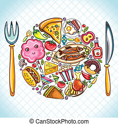 Beautiful illustration featuring colorful popular food shaped as plate with a fork and knife.