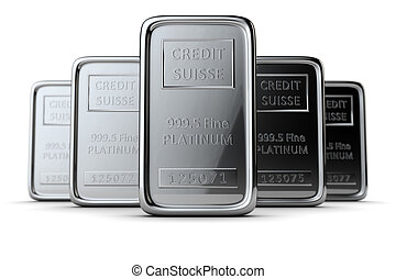 The group of ingots are on the white. DOF