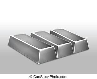 Platinum ingots isolated. Vector illustration