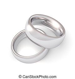 A his and hers set of platinum wedding bands.