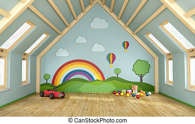 Playroom in the attic with toys and decoration on wall - 3D Rendering
