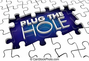 Plug the Hole Fill Gap Solve Problem Puzzle Pieces 3d Illustration