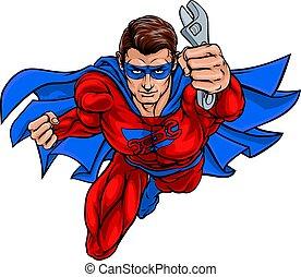 Plumber Mechanic Superhero Holding Wrench Spanner