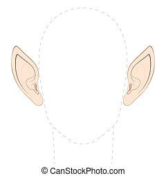 Pointed ears of an elf, fairy, vampire or other fantasy creature, with empty space between them to insert any photo. Isolated vector illustration on white background.