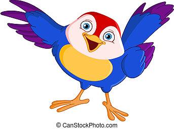 Cute pointing bird