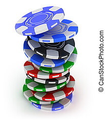 Poker gambling chips falling in pile top view isolated on white