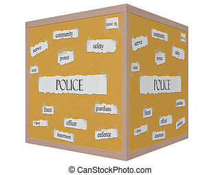 Police 3D cube Corkboard Word Concept