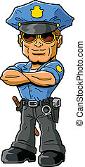 Tough confident macho policeman with cool sunglasses and arms folded across chest