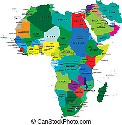 Political map of Africa agaist white background. Every state is selectable separate