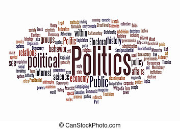 politic text cloud on isolated background