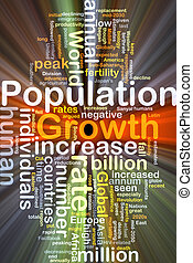 Population growth background concept glowing