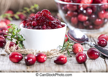Portion of Cranberry Jam (with fresh fruits)