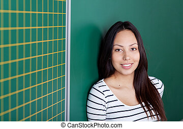 beautiful asian girl leaning against blackboard